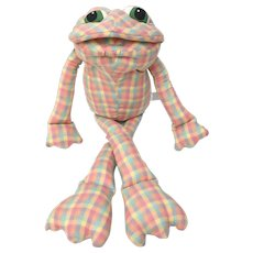 Large Plaid Cloth Green Eyed Frog Stuffed Plush Doll