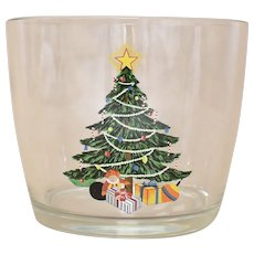 Holiday Christmas Tree w/ Gifts Glass Ice Bucket / Party Bowl