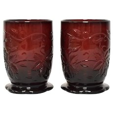 """Pair of Princess House """"Fantasia"""" Ruby Red Glass Christmas Poinsettia Votive Candle Holders"""