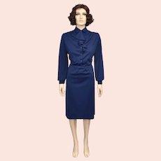 c1970s Designer 'Nikki' Royal Blue Long Sleeve Ruffle Neck Pencil Dress - Size 13/14