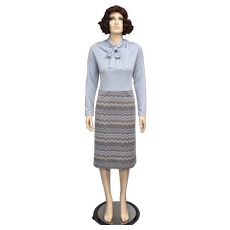 c1970s Periwinkle Blue Pussy Bow Neck Tie Long-Sleeved Geometric Pattern Pencil Style Dress