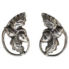 Sterling Silver Danecraft Oak Leaf & Acorn Screw Back Earrings