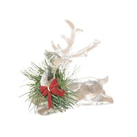 Roman, Inc. Clear Acrylic Resting Reindeer w/ Neck Wreath Christmas Sculpture