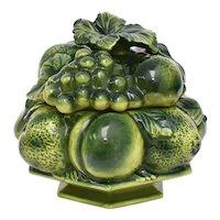 Mid-Century Avocado Green Majolica Pottery Figural Fruit Motif Bowl w/ Original Lid