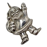 Signed Sterling Silver Large Santa Claus Figural Christmas Ornament / Pendant