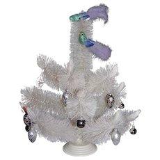 """Mid-Century 25"""" Winter White Bottle Brush Tabletop Christmas Tree"""