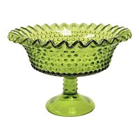 Westmoreland Avocado Green Glass Crimped Edge Pedestal Compote or Candy Dish