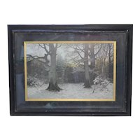 """c1893 """"Christian Evening in the Forest"""" Art Engraving by Muller-Kurzwelly in Original Antique Shadowbox Frame"""