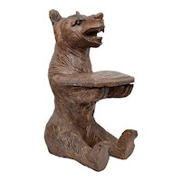 "Rustic Large 13"" Early Hand Carved Solid Wood Bear w/ Glass Eyes & Small Tray Figural Sculpture ~ Perfect for Business Cards!"