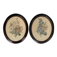 "Pair of Large 19"" Victorian Geranium & Anemone Botanical Flower Art Prints in Genuine Solid Wood Oval Frames"