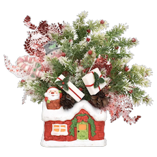 ARDCO Red, Green & White Holiday Motif Ceramic Planter w/ Festive Faux Greenery & 3D Flocked Puff Decorations - Perfect for Christmas!