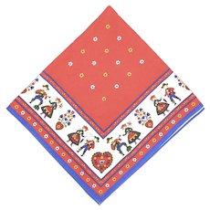 "Pennsylvania Dutch Folk Art Vibrant Red & Blue Cotton Fabric 44 "" x 41 "" Square Tablecloth"