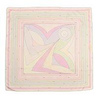 "Signature Designer Emilio Pucci Pastel Colors Geometric Kaleidoscope Print 35 "" x 34 "" Silk Scarf"