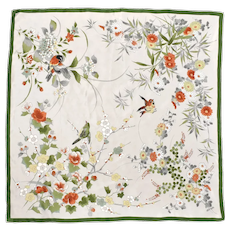"31"" x 30 "" Green & Orange Finch & Flower Design 100% Silk Women's Scarf"