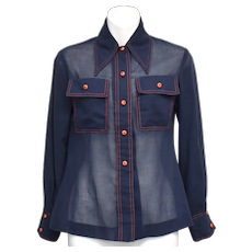 Surrey Division of Serbin Dark Blue w/ Orange Stitching & Buttons Sheer Women's Long Sleeve Button-up Blouse