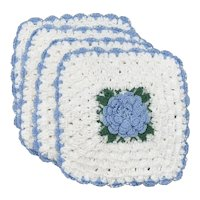 4-Pc Blue & White Flower Center Scalloped Edge Crochet Potholders / Burner Covers