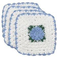 4-Pc Blue & White Flower Center Scalloped Edge Crochet Potholders / Burner Covers