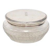 Gorham Sterling Silver, Cut & Etched Glass Decorative Jar w/ 'RCB' Monogrammed Lid