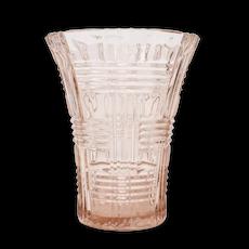 """6 """" Hazel Atlas Pink Basketweave Depression Cut Glass Vase"""