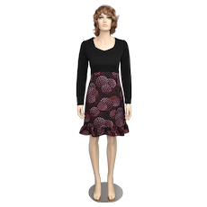Portfolio by Dorothy Samuel Long Sleeve Sweetheart Neckline Black & Magenta Geometric Pattern Ruffle Dress