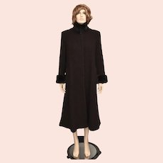 'Steve by Searle' Brown-black Ultra Soft Faux Fur Collar & Cuff Pocketed Opera Coat - Size Petite 4