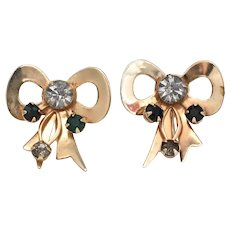 c1940s Festive Green & Clear Glass Rhinestone Large Ribbon Bow Screw Back Earrings - Perfect for Christmas Party!