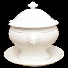 California Pottery White Lion's Head Ceramic Soup Tureen w/ Lid