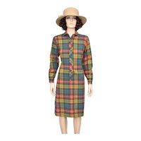c1960s Viyella's 'Lady Manhattan' Madras Plaid Great Britain Wool & Cotton Long Sleeve Button Shirt Dress