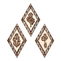 3-Pc MCM Syroco Inc. Cream & Simulated Burl Wood Decorative Diamond Wall Plaques