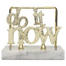 """'Do It Now"""" Gold Lettering & White Marble Granite Letter / Paper Holder Office Desk Accessory"""