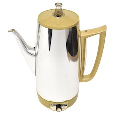 General Electric 'Immersible' Golden Rod Yellow & Chrome 9-Cup Automatic Coffee Maker Percolator