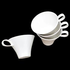 4-Pc MCM Ben Seibel for Impromptu by Iroquois Ecru White True China Tea / Coffee Cups