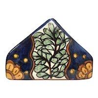 Mexico / Spain Traditional Talavera Majolica Earthenware Pottery Napkin Holder