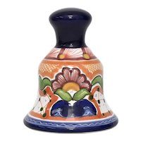 Arte Cruz Mexico Traditional Talavera Majolica Pottery Bell