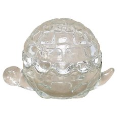 Anchor Hocking Clear Glass Figural Turtle Trinket / Candy Dish w/ Lid