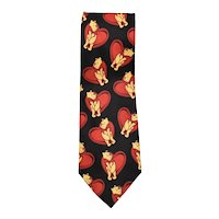 Disney Winnie the Pooh & Big Red Hearts Red & Black Exquisite Apparel Men's Tie - Great for Valentine's Day!
