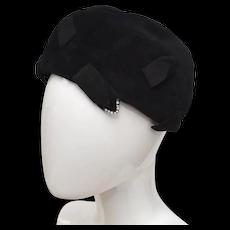 Black Velour & Rhinestone Pillbox / Cloche Lady's Hat