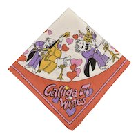 "31"" x 30"" 'Calliga Wines' Memorabilia Heart Symphony Table Cloth Tea Towel - Perfect for Valentine's Day!"