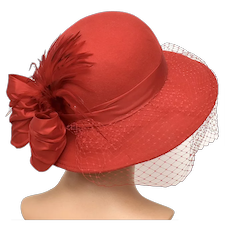 Lipstick Red Wool Felt Ladies Netted Veil Cloche Style Hat w/ Large Feathers & Rear Bow - Made in USA!