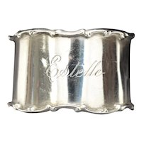 Towle Sterling Silver 'Estelle' Monogrammed Decorative Scarf / Napkin Ring