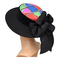 Whittall & Shon for Lord & Taylor Black Doeskin Wool Felt Ladies Hat w/ Colorful Crown & Large Rear Bow