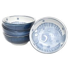 Set of 4 Never Used Japanese Blue & White Painted 'Hirame' or Flounder Fish Motif Ceramic Rice Side Bowls