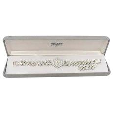Parmex Designer Sparkly Rhinestone Art Deco Inspired Diamond Shape Chevron Link Wrist Watch