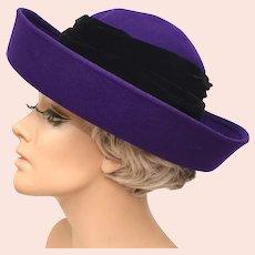 Micheal Howard 100% Wool Purple w/ Black Velour Wrap Wide Up-turned Brim Lady's Hat