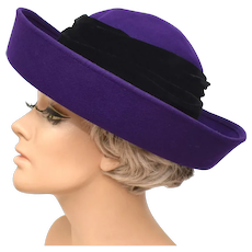 Micheal Howard 100% Wool Purple w/ Black Velour Wrap Wide Up-turned Brim Lady's Hat
