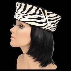 100% Wool Black & Velour Zebra Print Pill Box Lady's Hat