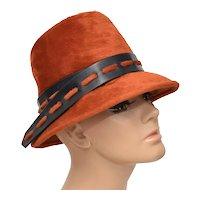 Angel Designs Empress Western Germany Deep Orange Faux Fur & Belted Lady's Hat