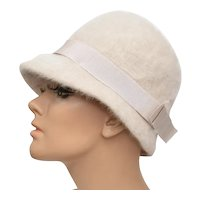 Kangol Furgora 'Irene' Ecru White Rabbit Fur & Bow Nylon Lady's Hat
