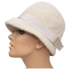 Kangol Furgora 'Irene' Ecru White Rabbit Fur & Bow Nylon Lady's Hat