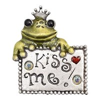 AJMC Signed 'Kiss Me!' Whimsical Pewter Frog Prince Enamel & Rhinestone Brooch/Pin - Perfect for Valentine's Day!